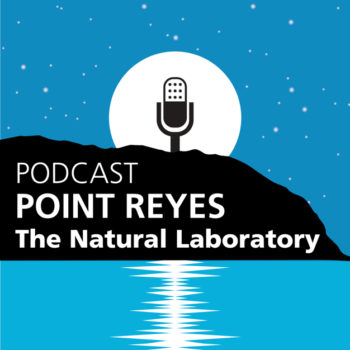 Point Reyes, The Natural Laboratory Podcast logo - A silhouette of the point with a microphone on top and the water below has a sound ripple