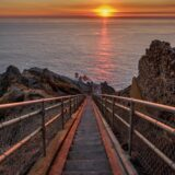 Looking down the stairs of the Point Reyes Lighthouse at sunset