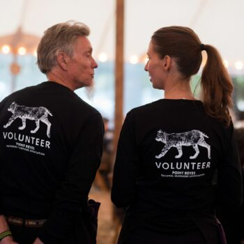 Two people wearing shirts that says Volunteer